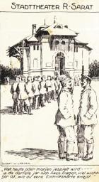 Carte poștală. Reproducere după un desen. Militari germani intrând în teatrul din Râmnicu Sărat