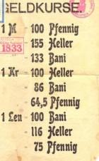 Afiș ce prezintă cursul valutar din perioada ocupației germane