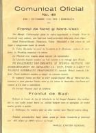 Comunicat oficial al Marelui Cartier General din 1 octombrie 1916 cu privire la situația de pe Frontul de Nord și Nord-Vest și Frontul de Sud