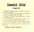 Comunicat oficial al Marelui Cartier General din 16 august 1916 cu privire la mobilizarea generală și situația pe front