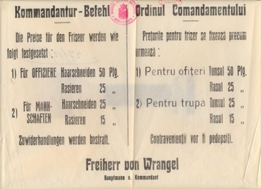 Hotărâre luată de Comandamentul german prin care se fixează prețurile pentru frizer - afiș